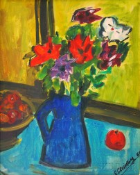 Samuel Greenburg (American, 1905-1980)      Still Life with Flowers in a Pitcher.