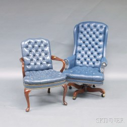 Two Tufted Leather Upholstered Armchairs