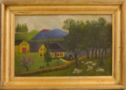 American School, 19th/20th Century       Landscape with a Yellow House