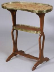 Louis XV/XVI Style Marble-top and Tulipwood Kidney-shaped Side Table