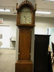 Elmer O. Stennes Chippendale-style Bird's-eye and Tiger Maple Tall Case Clock
