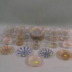 Thirty Pieces of Venetian Glass