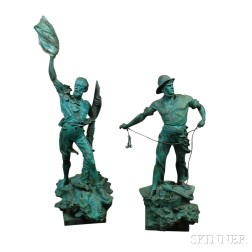Two Patinated Spelter Nautical Figures After Arthur Waagen