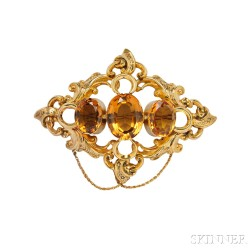 Gold and Citrine Brooch