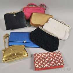 Eight Assorted Lady's Evening Handbags and Clutches