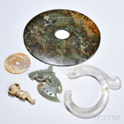 Five Archaic-style Jade and Hardstone Carvings