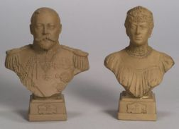 Pair of Doulton Lambeth Brown Stoneware Busts of George V and Queen Mary