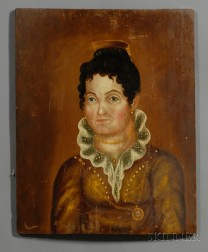Attributed to Asahel Lynde Powers (American, 1813-1843)      Portrait of a Woman Wearing a Golden Brown Dress and Gold Jewelry.
