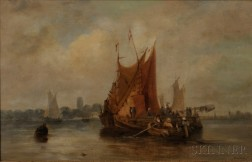 Attributed to Walter Heath Williams (British, 1835-1906)      Pair of Paintings of Sailing Vessels: In a Stiff Breeze