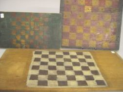 Three Polychrome Painted Wooden Game Boards