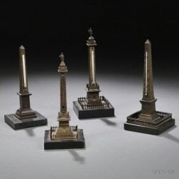 Four Grand Tour Bronze Desk Thermometer Models of Monuments