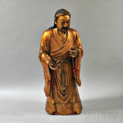 Red-lacquered and Giltwood Temple Figure