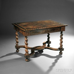 Baroque-style Oyster-veneered and Marquetry Side Table