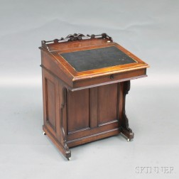 Victorian Walnut and Curly Maple Davenport Desk