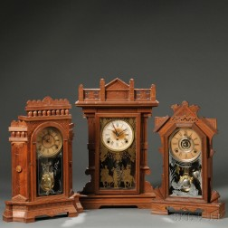 """E.N. Welch """"Ruddygore"""" and Two Other Walnut Parlor Clocks"""