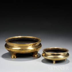 Two Large Polished Bronze Censers