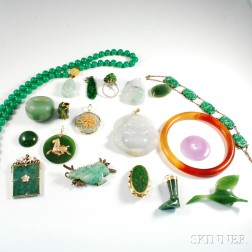 Group of Asian Hardstone Jewelry