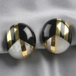 18kt Gold, Black Jade, and Mother-of-pearl Earclips, Tiffany &Co.