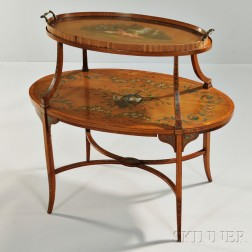 Edwardian Painted Two-tier Tray Table