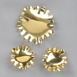 18kt Gold Brooch and Earclips, Tiffany & Co.