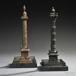 Two Grand Tour Bronze Models of Columns
