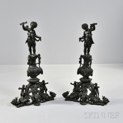 Pair of Napoleon III-style Patinated Bronze Andirons