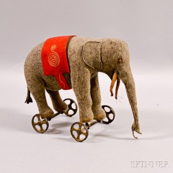 Steiff Embroidered Flannel Elephant Pull-toy