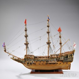 Painted Wooden and Gilt-metal-mounted Model of HMS Sovereign of the Seas