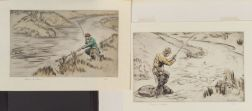 Henry Wilkinson (British, 20th Century)      Lot of Two Fishing Scenes:  Ready with the Net