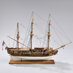 Painted Wooden Model of the Royal Yacht Royal Caroline