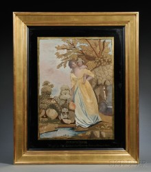 """Boston Schoolgirl Needlework Picture Titled """"Fetching Water,"""""""