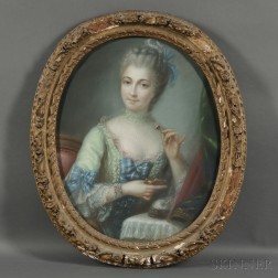 French School, 18th/19th Century      Portrait of a Lady in Green at her Toilette, possibly Madame Pompadour