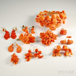 Group of Antique Carved Coral Jewelry