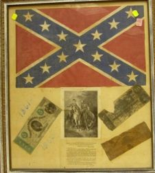 Framed Confederate Flag and Three Pieces of Confederate-type Currency.