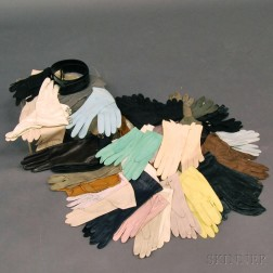 Large Group of Lady's Kidskin and Knit Day, Evening, and Riding Gloves