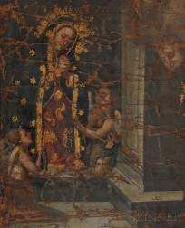 Spanish Colonial School, 18th/19th Century      Madonna with Angels Holding Symbols of Christ's Passion