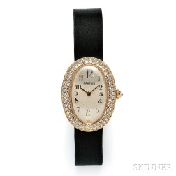 "Lady's 18kt Gold and Diamond ""Baignoire"" Wristwatch, Cartier"