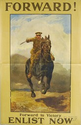 British Forward! Forward to Victory - Enlist Now   WWI Lithograph Poster
