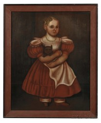 American School, Early 19th Century      Portrait of a Girl in a Red Dress and Gold Bead Necklace Holding Her Cat.