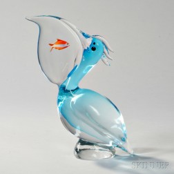 Pelican with Fish Glass Sculpture