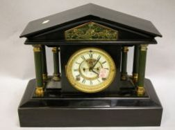 Ansonia Classical-style Gilt and Patinated Metal Mantel Clock.