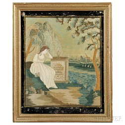 Watercolor and Needlework Memorial to Miss E.H.M. Clary and N.D.M. Clary