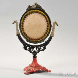 Paint-decorated Cast Iron Dressing Mirror