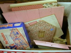 Printed Wood Colonial-Style Doll House and Contents