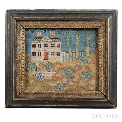 Needlework Picture Showing a House with Woman