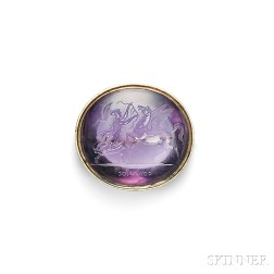 Antique Amethyst Intaglio Brooch