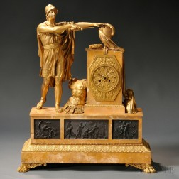 Monumental Gilt and Marble Figural Mantel Clock