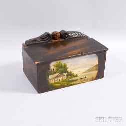 Small Paint-decorated and Figural-carved Lift-top Box