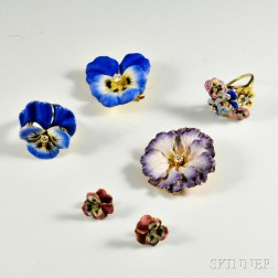 Group of Gold, Enamel, and Diamond Flower Jewelry