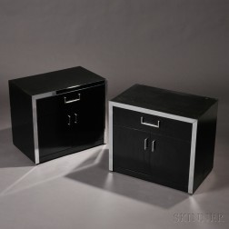 Pair of Mid-Century Modern Lacquered Wood and Metal Cabinets